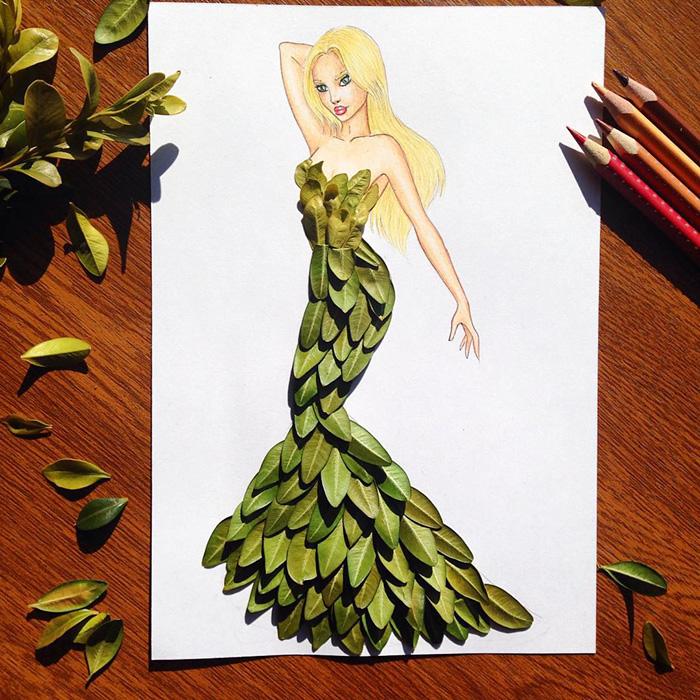 rochie din frunze