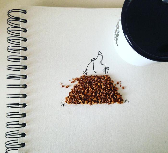caracatita si musuroi din cafea
