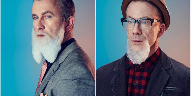 Bărbați cu barbă din spumă