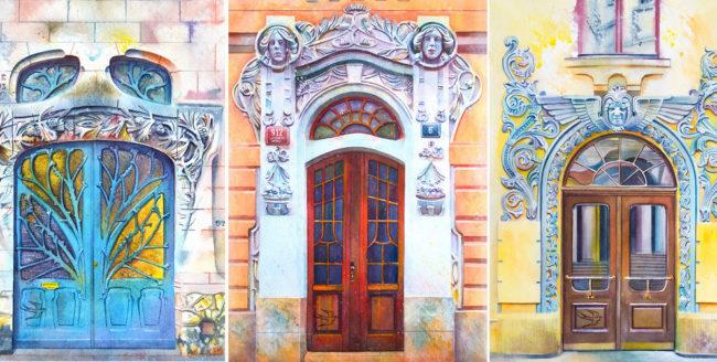 Uși din Europa, desenate în acuarelă