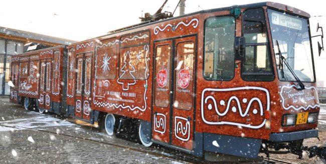 Tramvaiul lui Moș Crăciun a intrat în circulație la Cluj